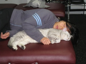 Napping with Kitty Cat during my brake at the gym